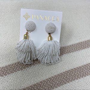 PANACEA Beaded Tassel Earrings White & Gold NEW
